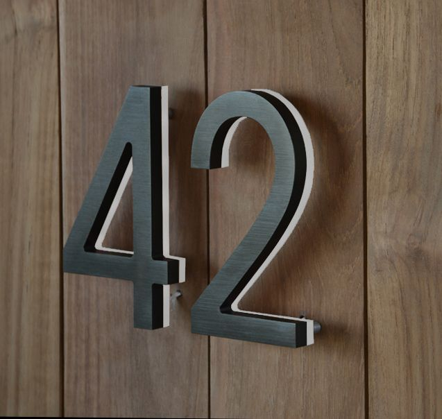 Luxello Modern Led Bronze House Number 5 Outdoor