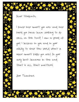 Testing Letter for Students | End of year | Pinterest ...