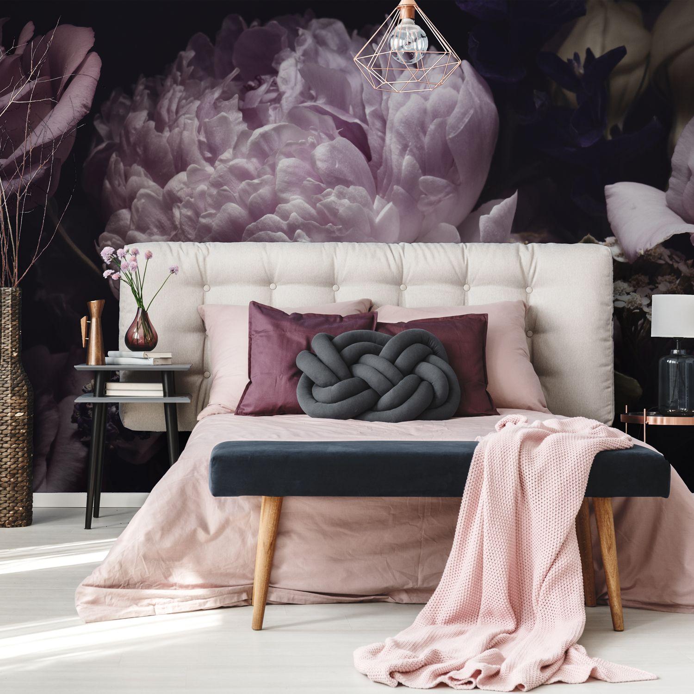 Bouquet Of Pink Peonies Dark Background Fototapety Redro Interior Design Bedroom Bedroom Design Interior Design