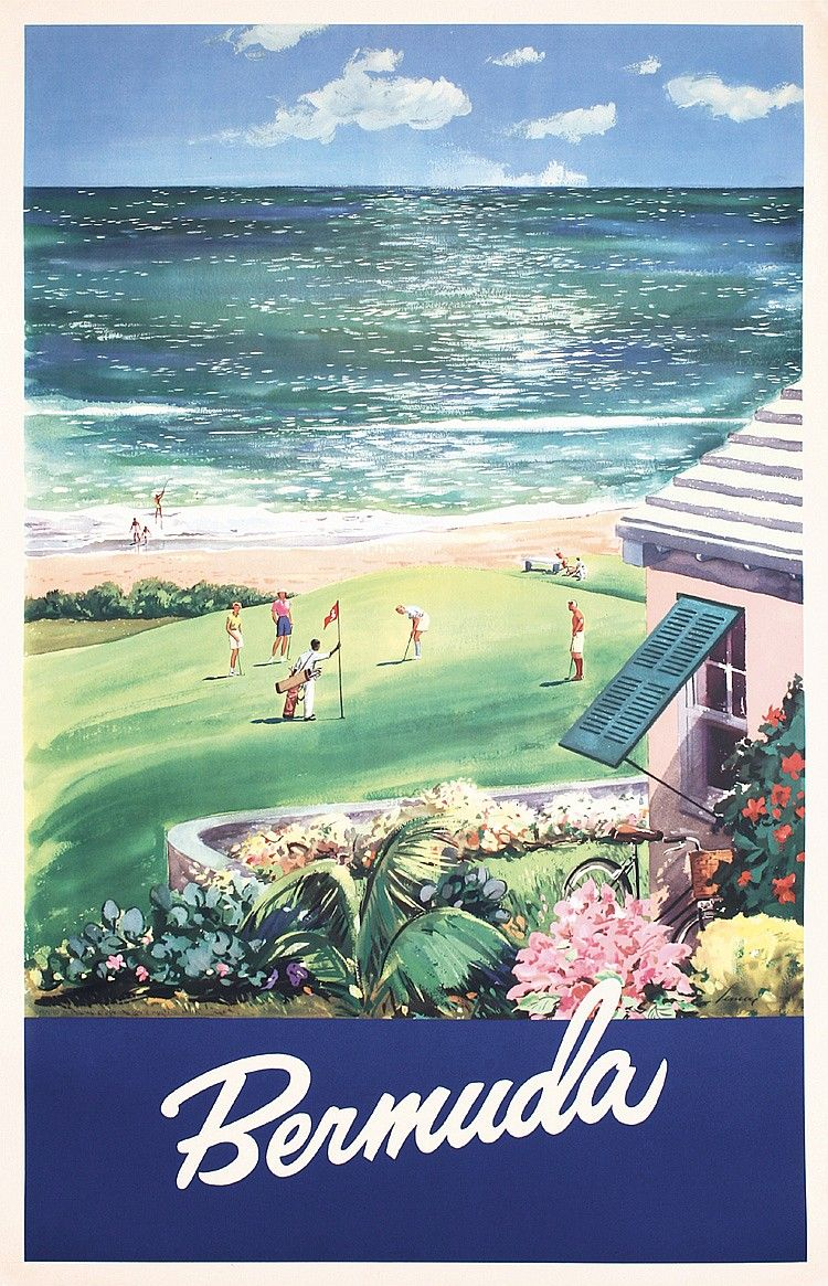 Lennon. Bermuda (Golf). Offset approx. 1950. Size: 37.4 x 24 in. (95 ...