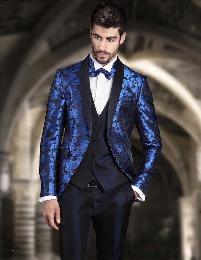 costume mariage homme paris trois pieces belu marine et veste en satin  brodé bleu roi 2e4589c04a2