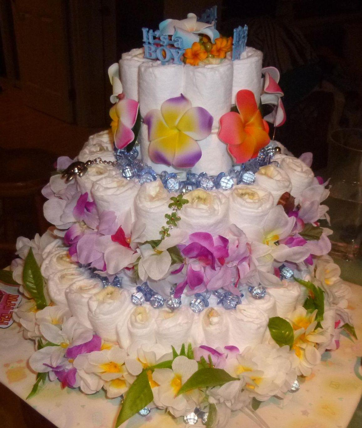 Hawaiian Diaper Cake   Beautiful! Hawaiian Baby ShowersHawaiian ...