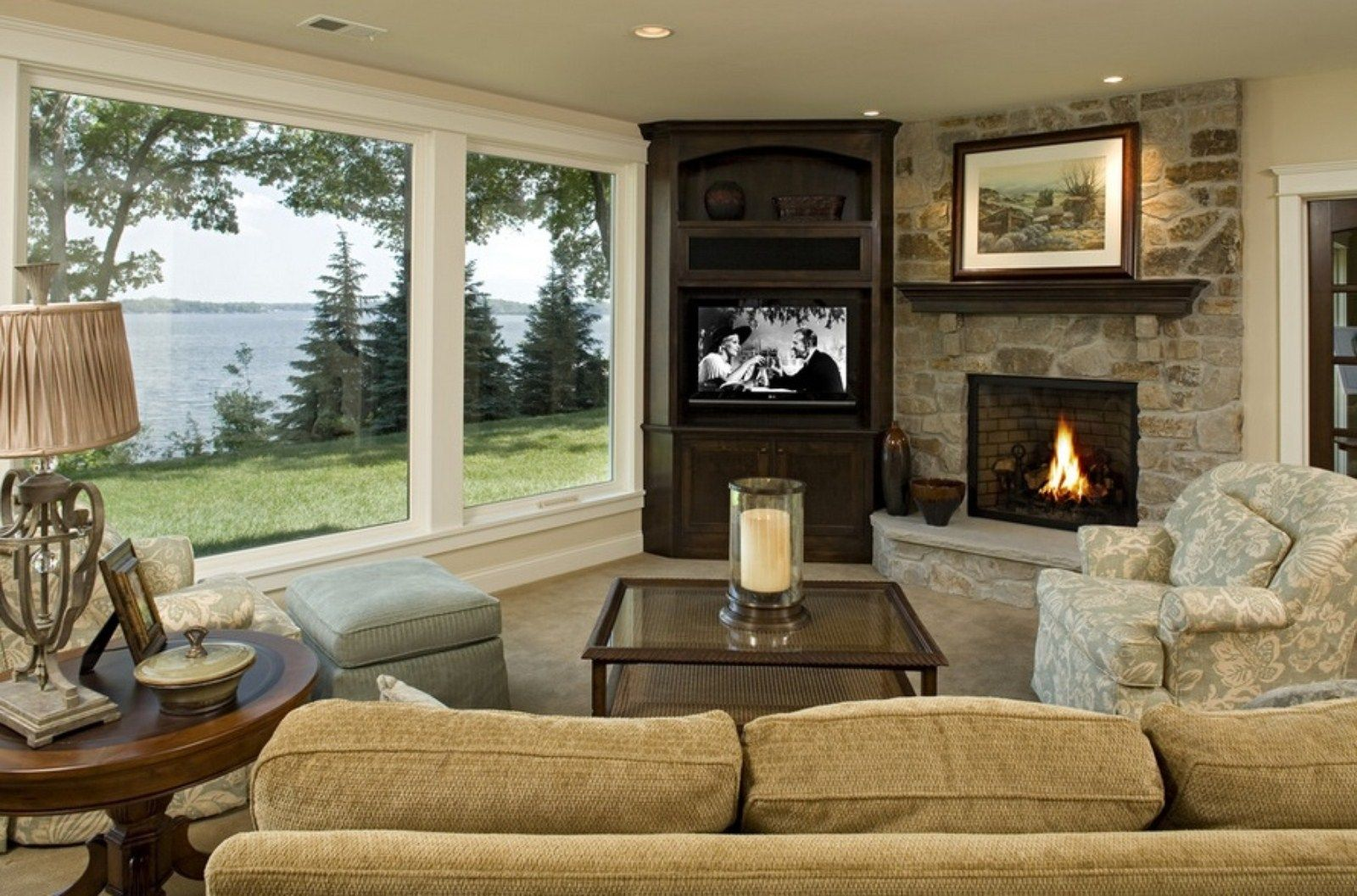 New fireplace with tv eclectic family room minneapolis - Furniture Corner Tv Wall Mount With Shelf And Recessed Lighting For Traditional Family Room Design