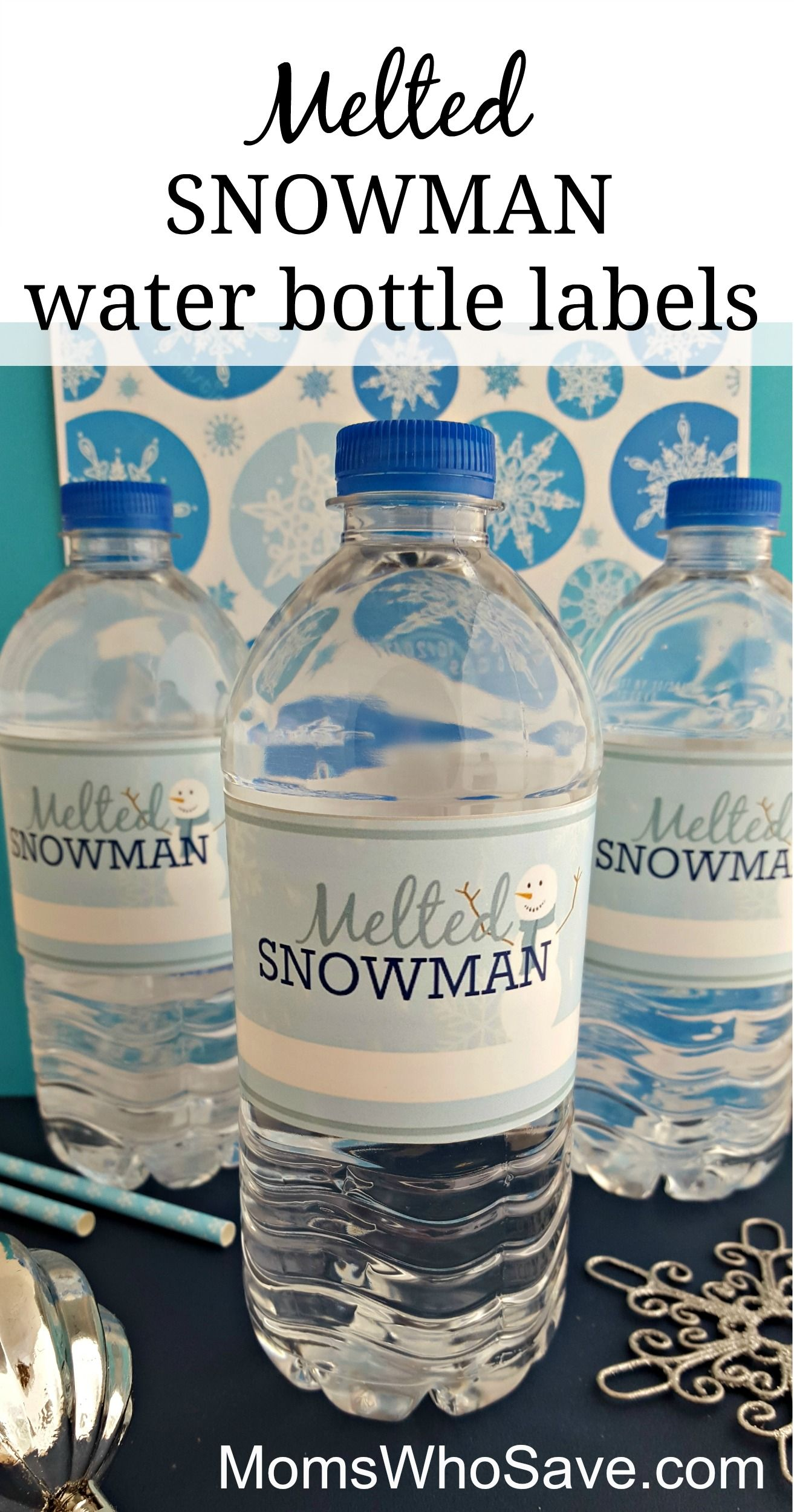 Easy Diy Free Printable Melted Snowman Water Bottle Labels Momswhosave Com Diy Water Bottle Diy Water Bottle Labels Water Bottle Labels Template Diy water bottle label template