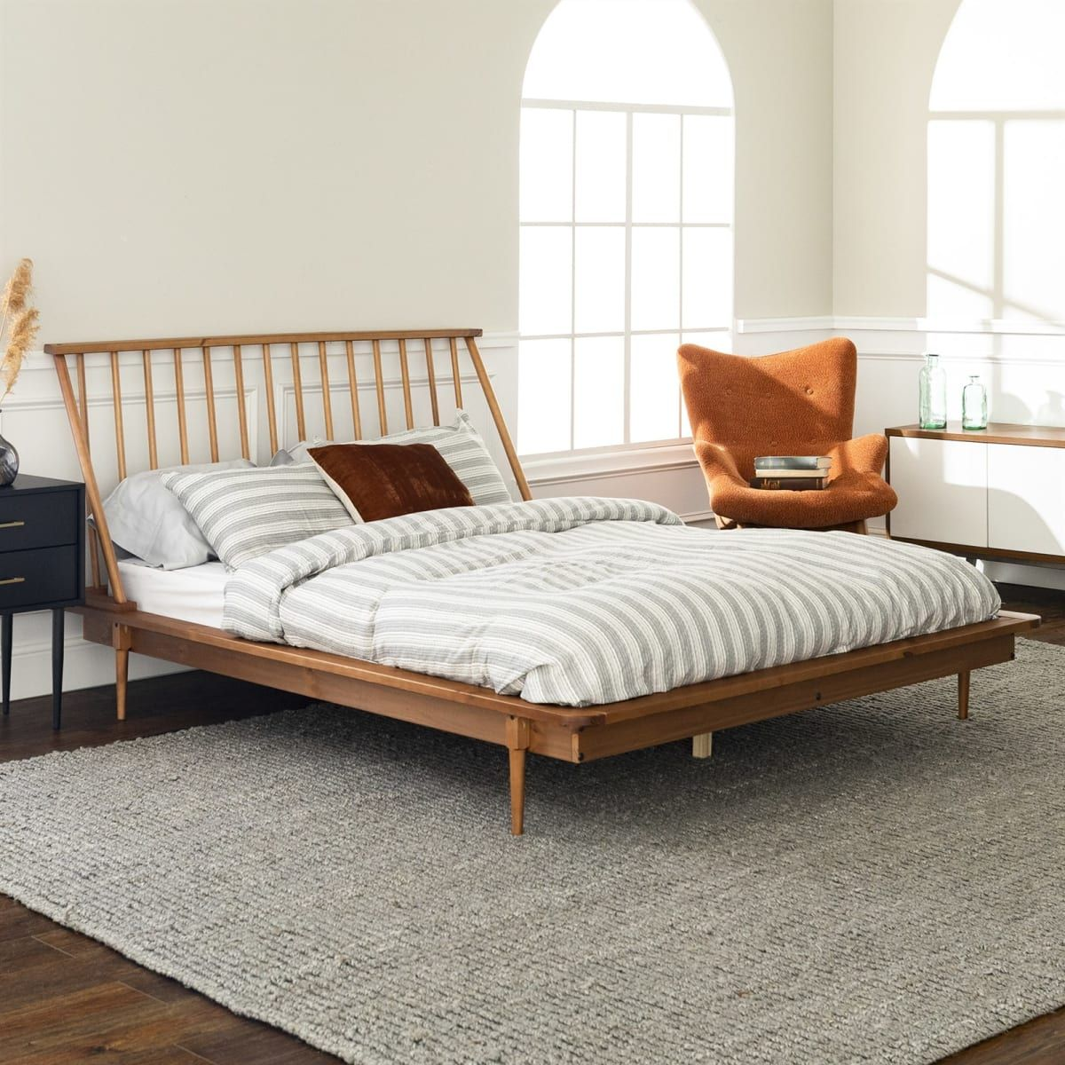 Modern Wood Queen Spindle Bed in 2020   Spindle bed, Boho ... on Modern Boho Bed Frame  id=42333