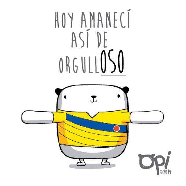Así O Más Orgulloso Opi Cute Kawaii Character Illustration Ilustración Dibujo Colombia Brazil2014 By Frases De Colombianos Mostropi Frases Alentadoras