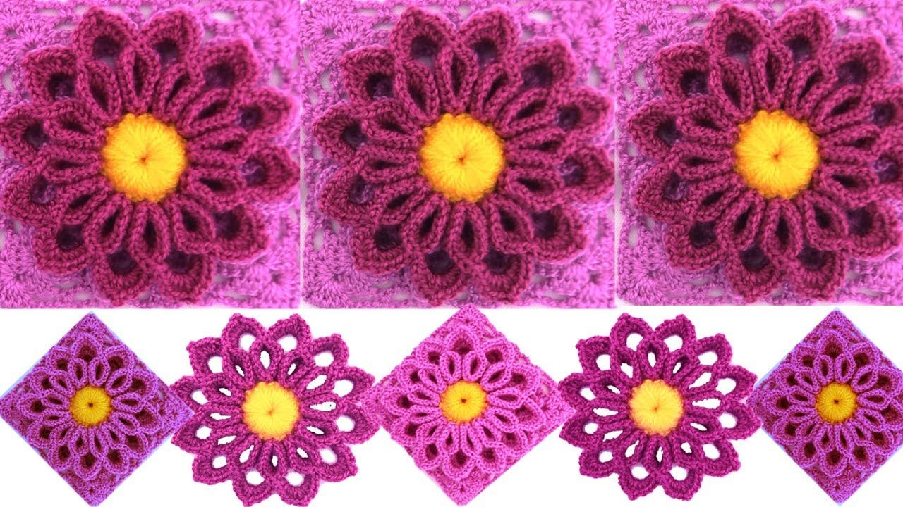 Teje flor Lila tejida con gancho Crochet fácil tutorial | Crochet ...