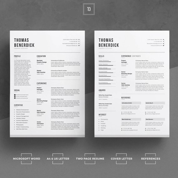 Clean Resume Template/CV Template + Cover Letter For Word