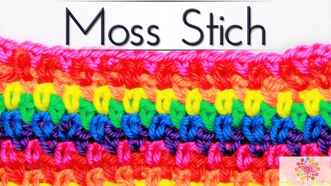 Häkeln lernen: Moss Stich Muster | Mütze|Schal|Decke| SUPER EINFACH ...