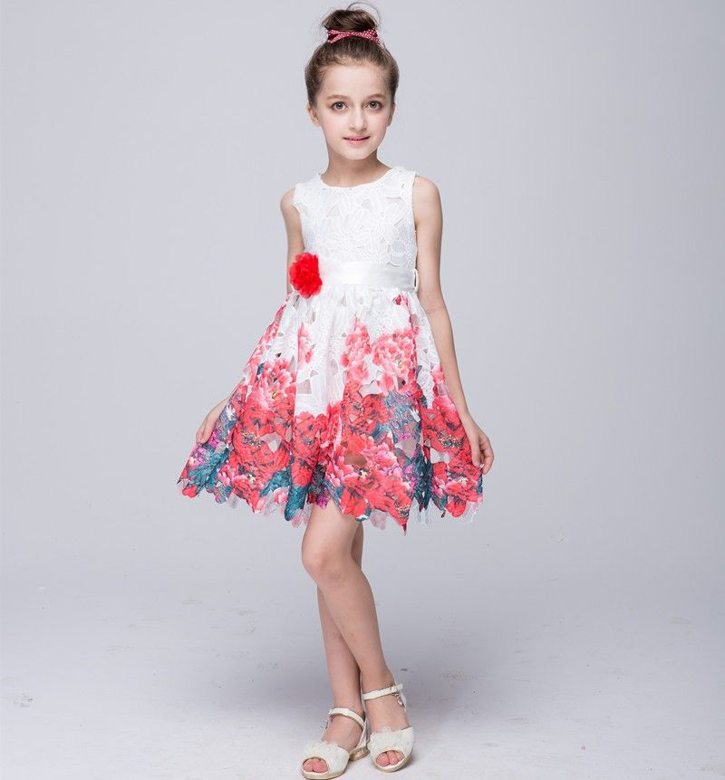 d09196f9f Girls Lace Dresses Summer 2016 High Quality Floral Flower Girl ...