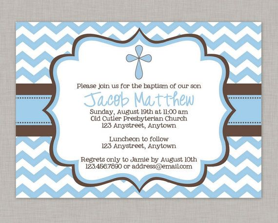 Baptism Invitation Boy Baptism Invitation Dedication Christening