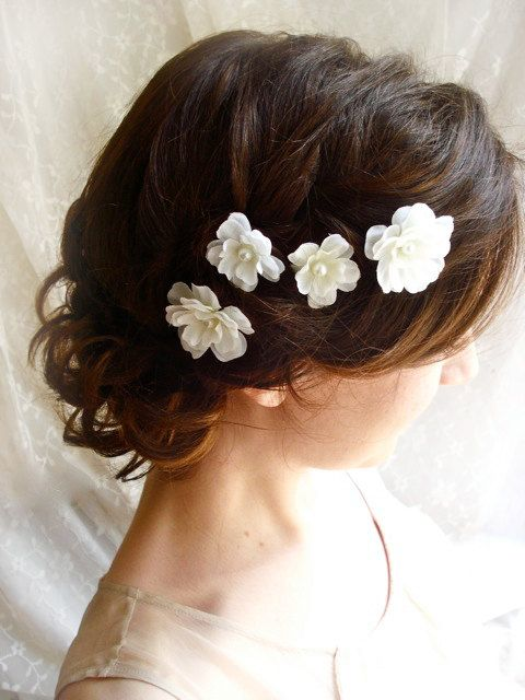 White flower hair pins fallen stars wedding hair clips bridal white flower hair pins fallen stars wedding hair clips bridal bridesmaid accessories junglespirit Image collections