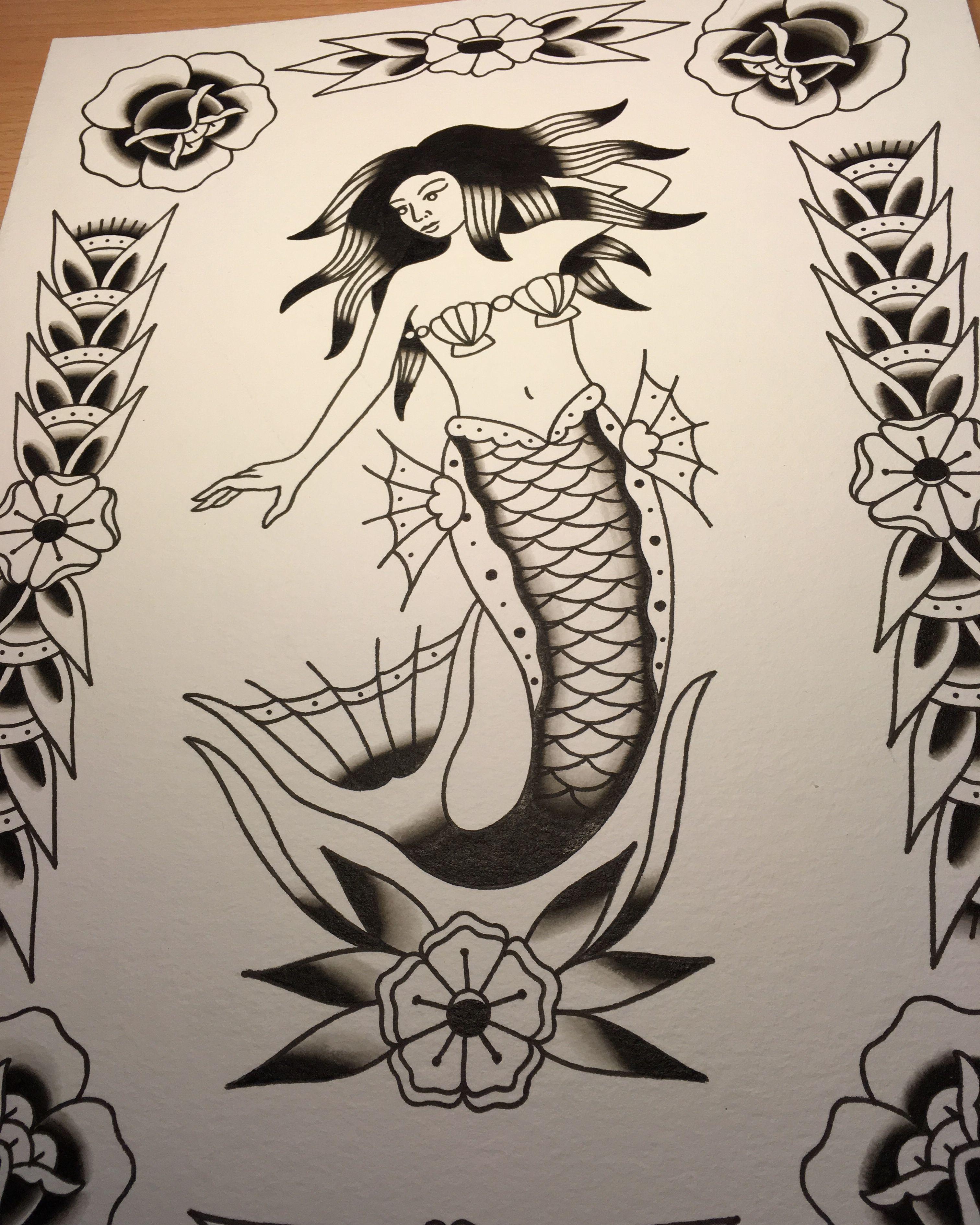 Amsterdam Tattoo Shop Old School Mermaid Wwweetattoocom