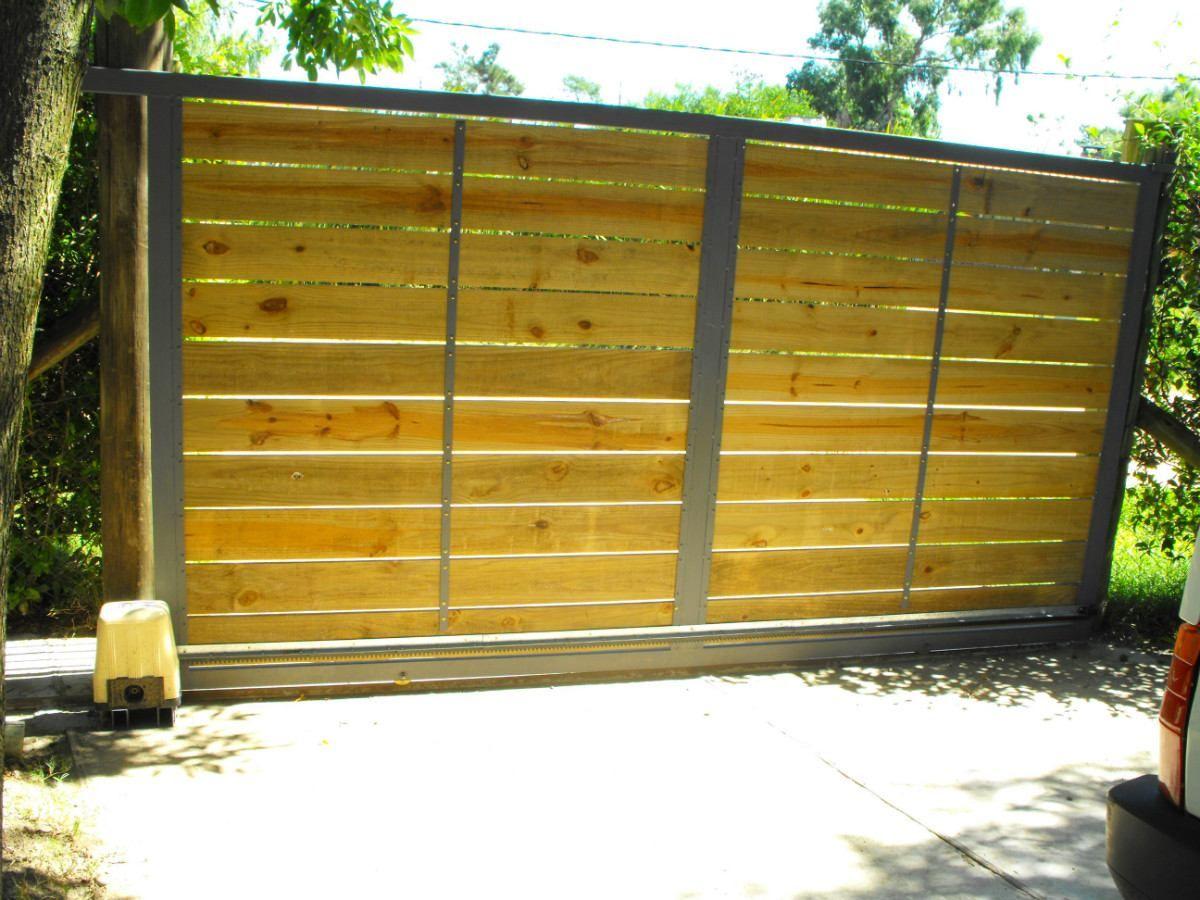 Port n corredizo hierro y madera automatizaci n portones for Portones de hierro para garage