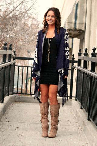 Caribou Crossing Cardigan with little black dress and brown boots ...