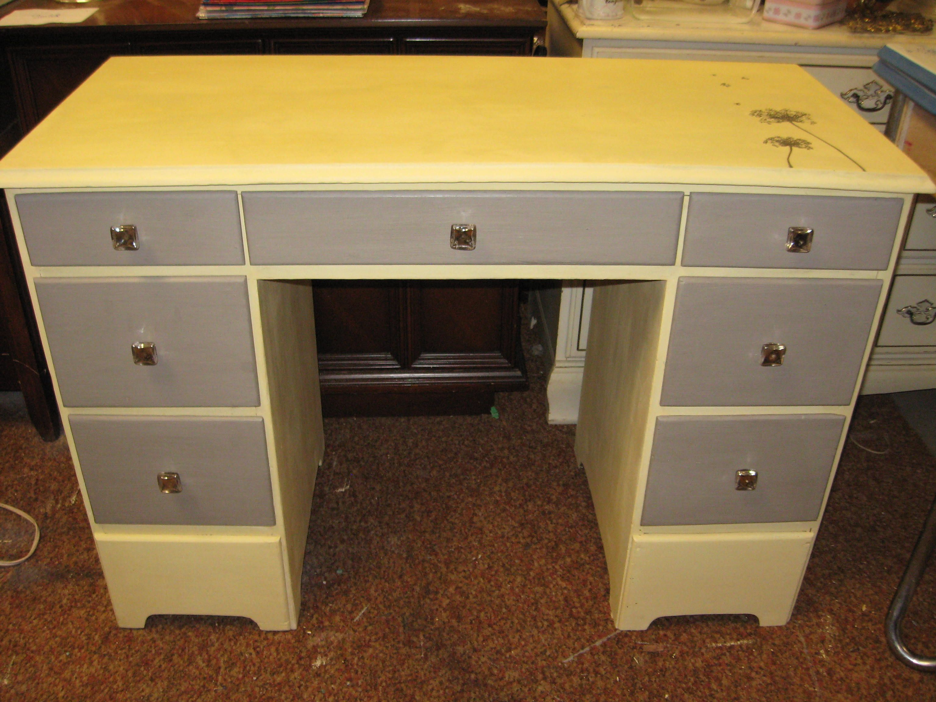 Yellow and gray desk | Grey desk, Guest bedrooms, Furniture