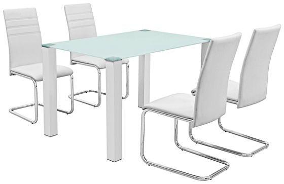 Étkezőgarnitúra, lakkozott fehér, üveg asztallap fém lábakkal, 4 ...
