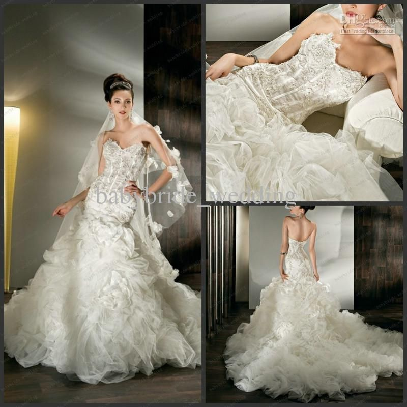 Wholesale lace crytal dropped waist demetrios corset for Sheer bodice wedding dress