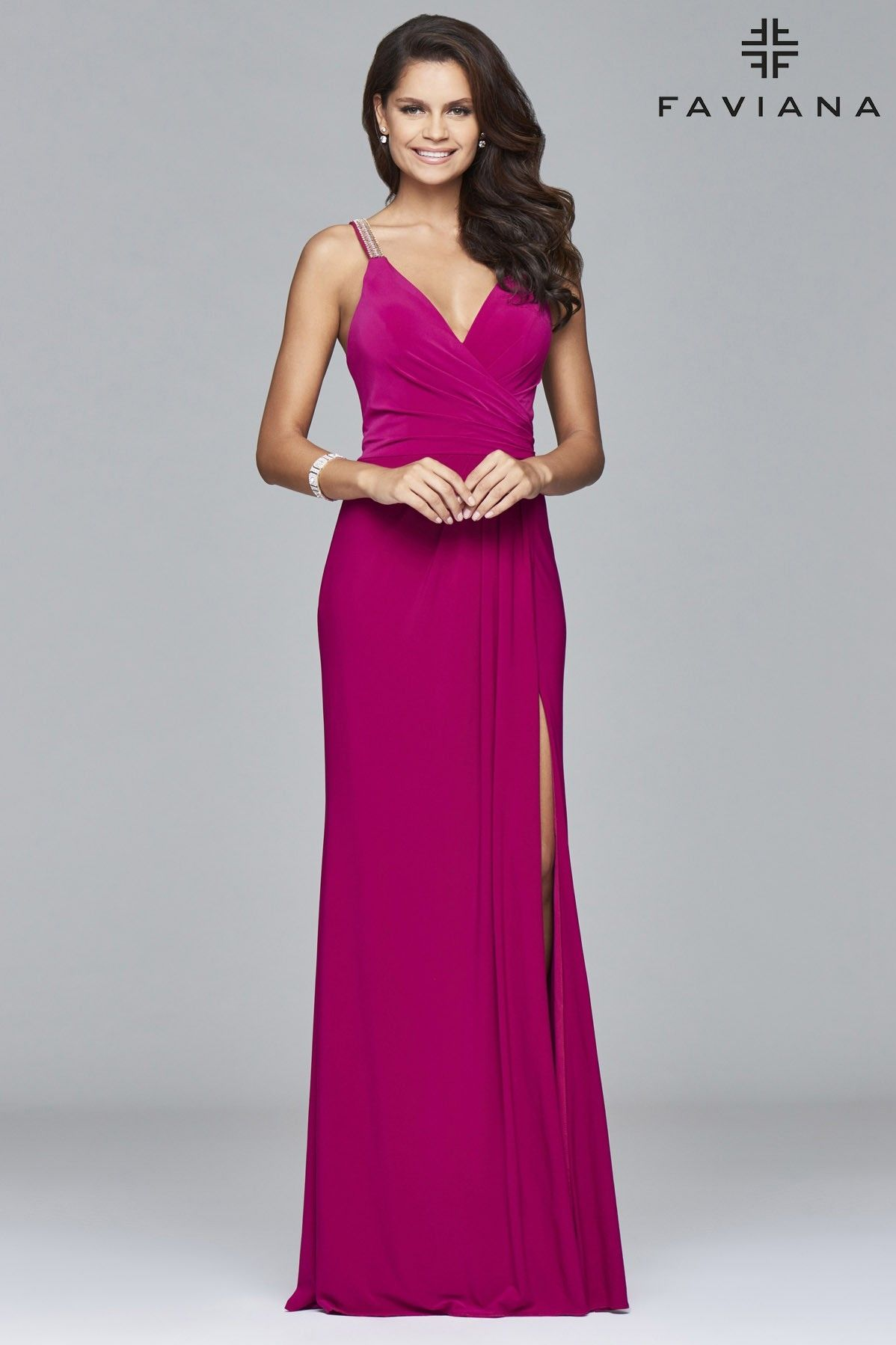 Long jersey dress with fitted bodice and beaded strap | Faviana ...