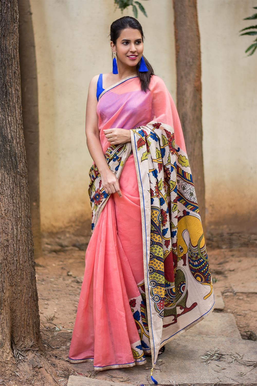 c27b704e461b4d Peach chettinadu chanderi soft silk cotton saree with printed Kalamkari  cross pallu #saree #blouse #houseofblouse #indian #bollywood #style #ethnic  #peach ...