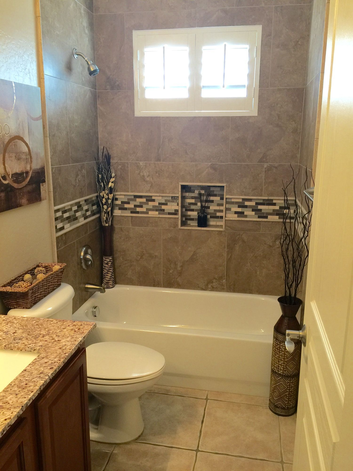 Bathroom Remodel. Tiled The Bathtub Shower Surround.