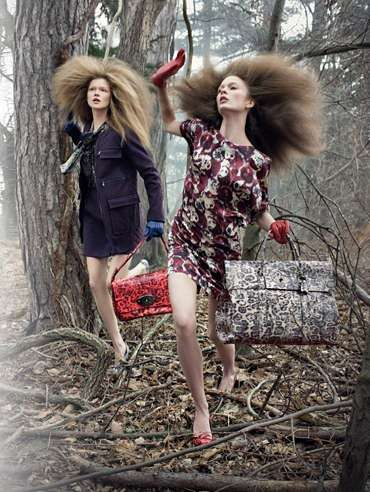 Frolicking Forest Fashion - Mulberry Fall 2009 ads Show Models in the Wild