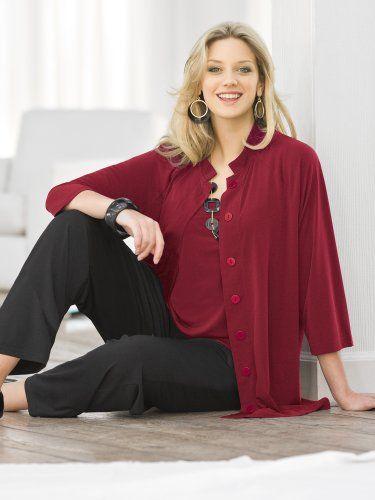 Ulla Popken Plus Size Matte Jersey Swing Jacket - Rio Red, 36/38 Ulla Popken