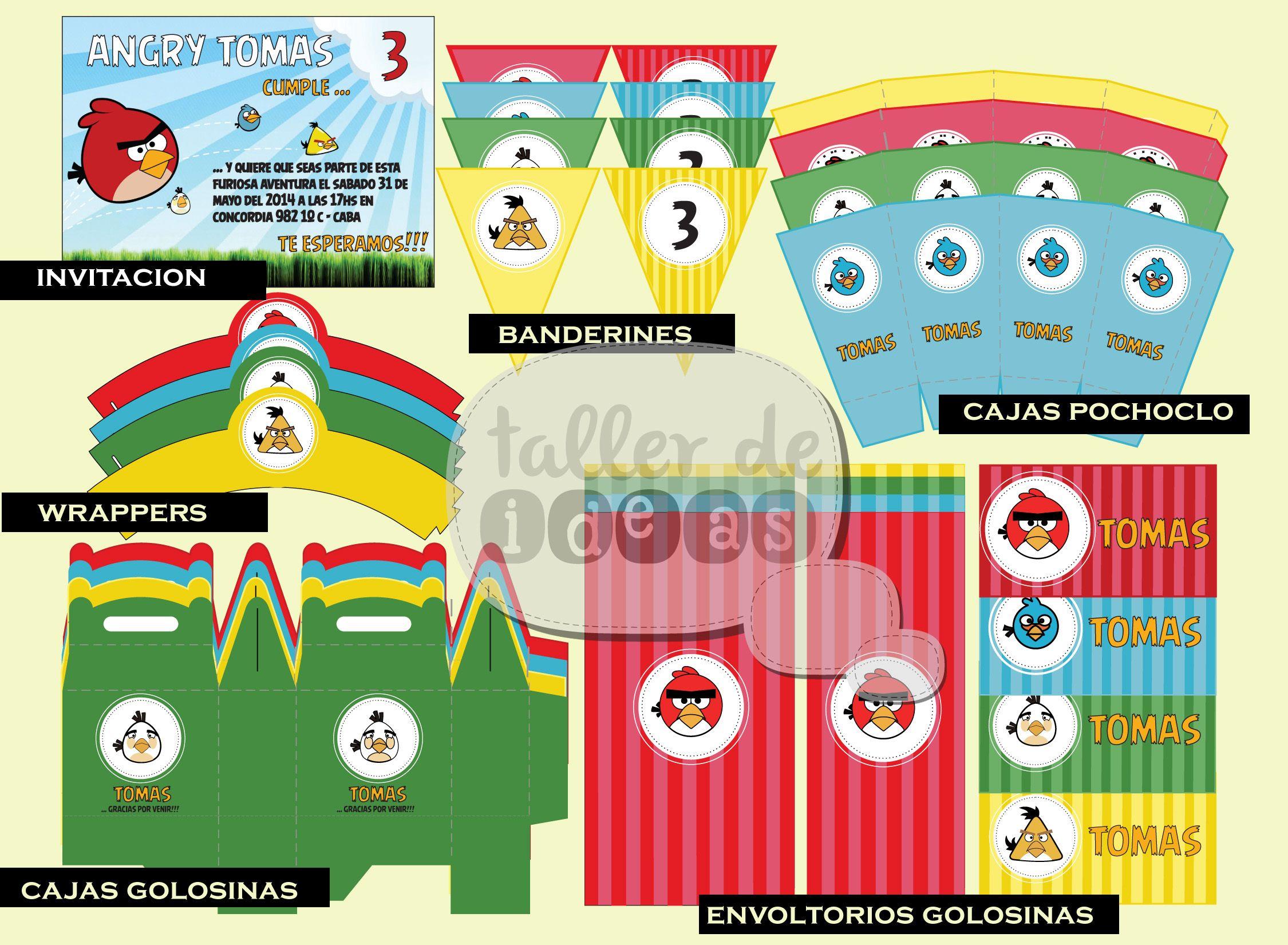 Cumpleaños Tomás - Temática Angry Birds - Diseño de invitación ...
