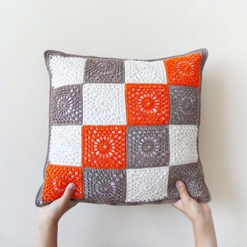 Granny square crochet pillowcase orange brown throw pillow two sided geometric cushion cotton : diy crochet pillowcase  - pillowsntoast.com