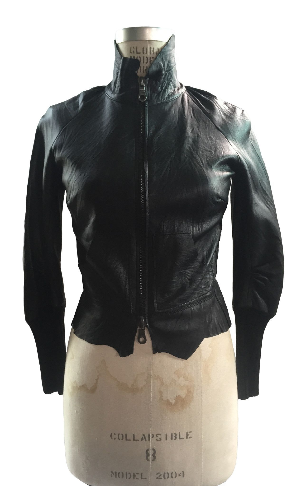 French Cuff Women Porn - Women's Leather Bomber Jacket, Double Zipper Front, Raw Cut Detailing, High  Cuffs and
