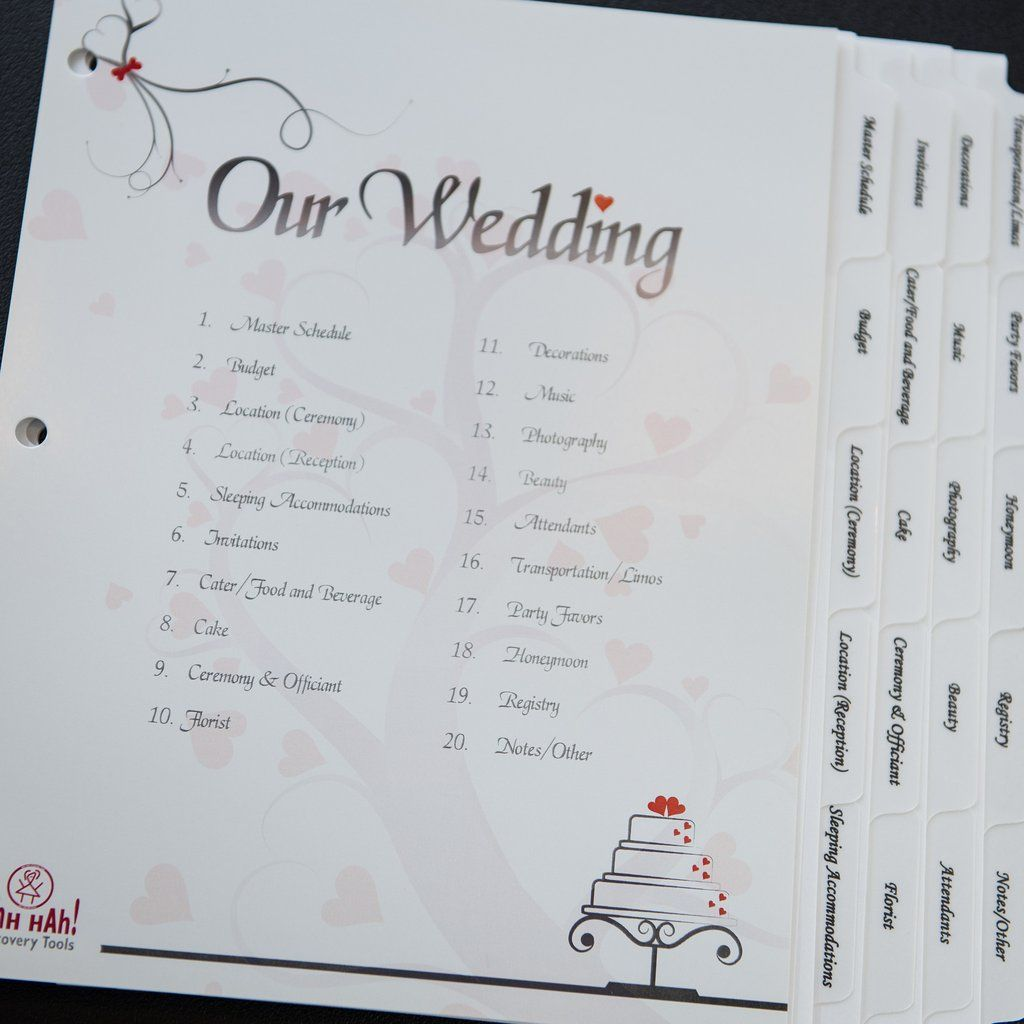 Wedding Kit Organizer Pre Printed Index Tabs For Three Ring Binder
