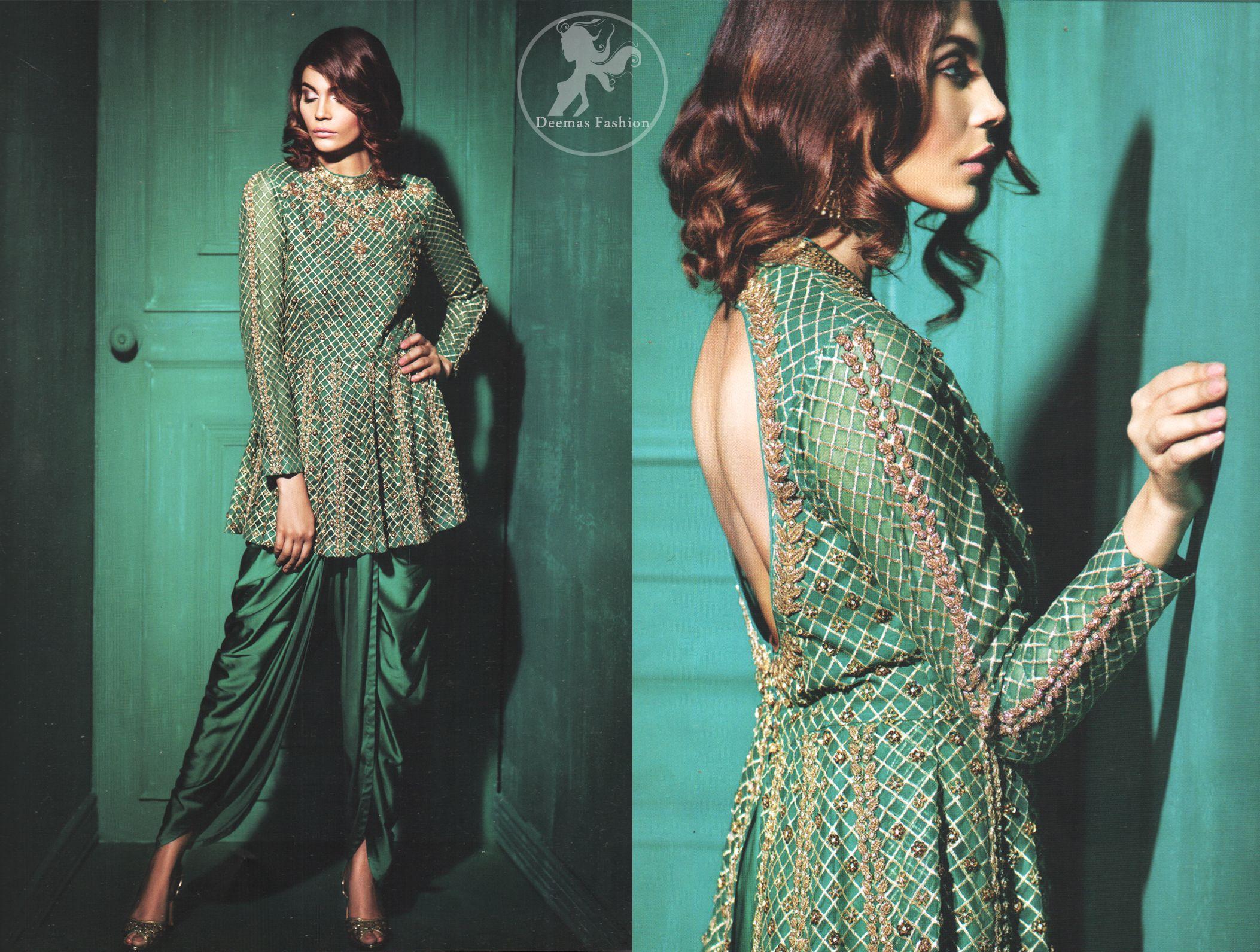 Party Wear Teal Green Peplum with Silky Tulip Net Dupatta ...