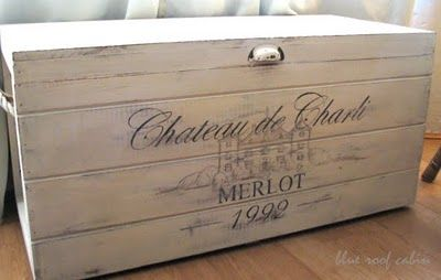 Great Chalk Painted Wood Box Transformation - I like!