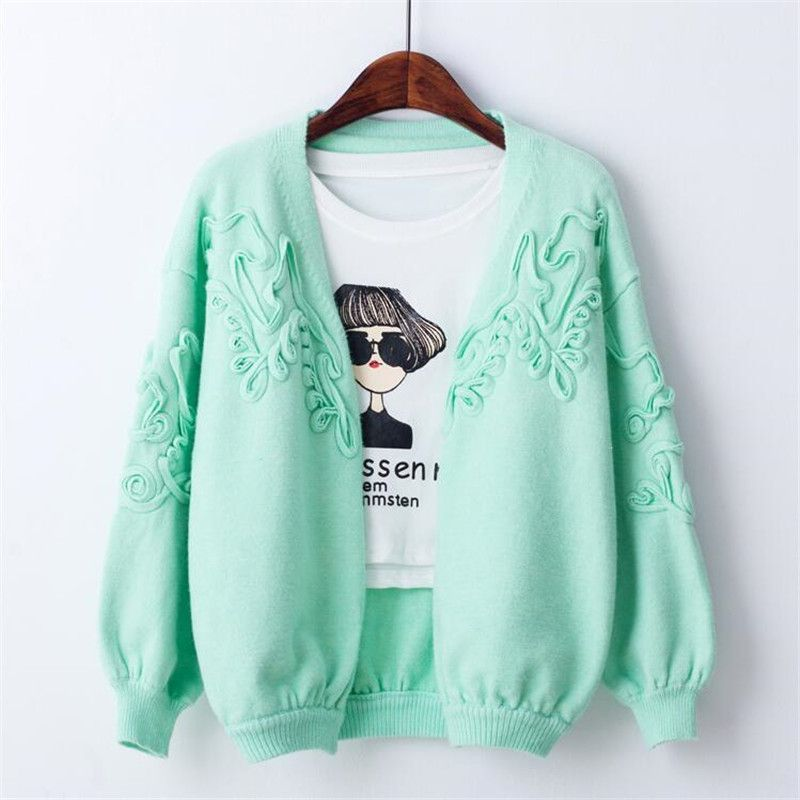 Open Stitch Lantern Sleeve Cardigan Floral Ruched Design Crop Knitted Coat Stretch Casual Basic Knitted Sweater