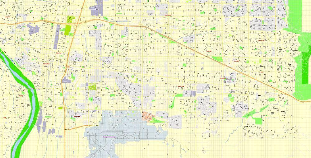 Albuquerque PDF Printable Map, New Mexico US, exact vector ...
