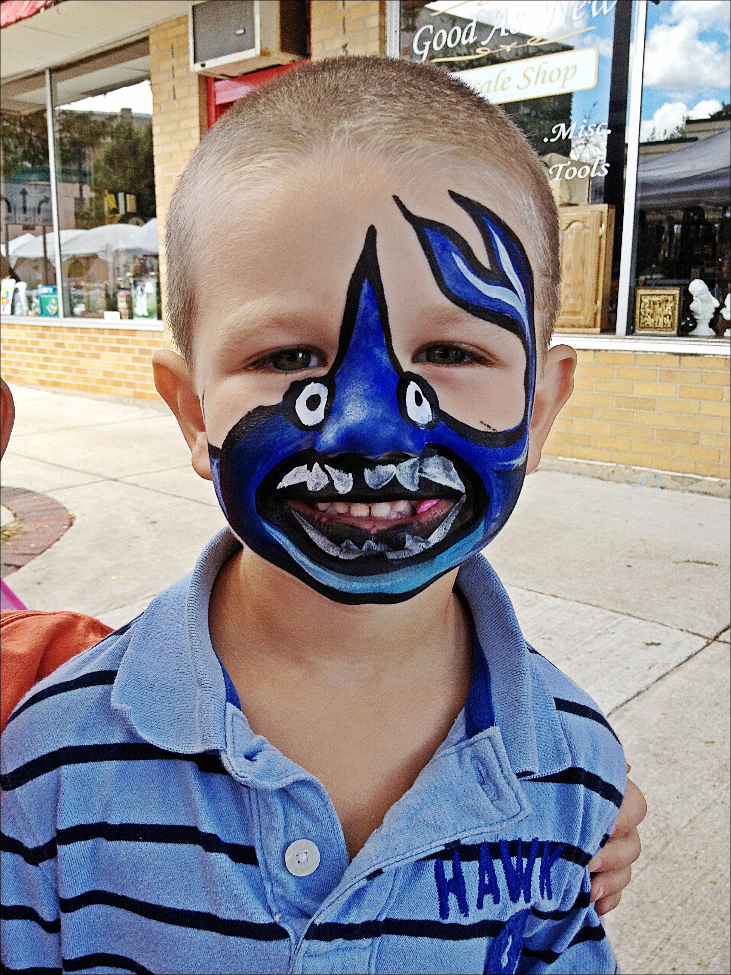 Shark Face Paint Shark Face Painting Face Painting For Boys Face Painting