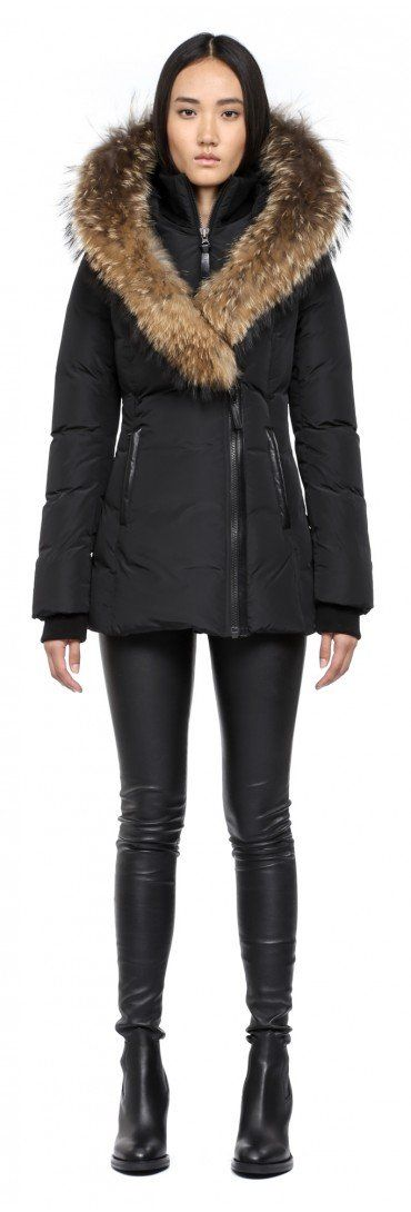 Down jacket with huge fur collar