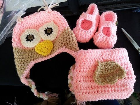 Free Crochet Owl Hat Pattern Set For A Girl But Can Be Made For A