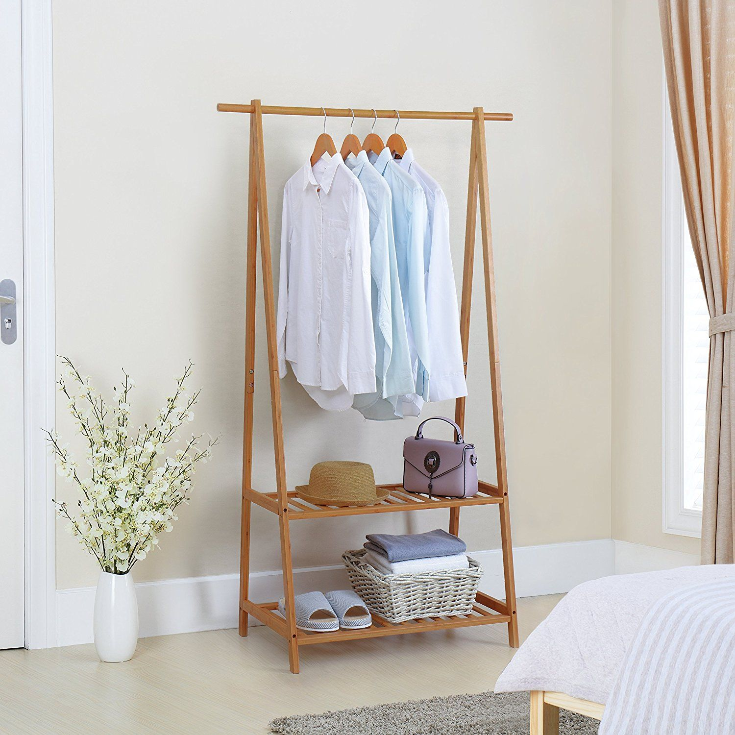 Amazon.com: Finnhomy Bamboo Clothes Rack Portable Extra Large Garment Rack  2 Tire Storage Box Shelves For Entryway And Bed Room: Home U0026 Kitchen