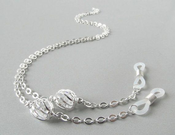 b2f79c4c1809 Silver Eye Glass Chain - Eyeglass Necklace - Eyeglass Lanyard - Eyeglass  Holders Necklaces - Brillenkette - Eyeglass Chains - Glasses Chain