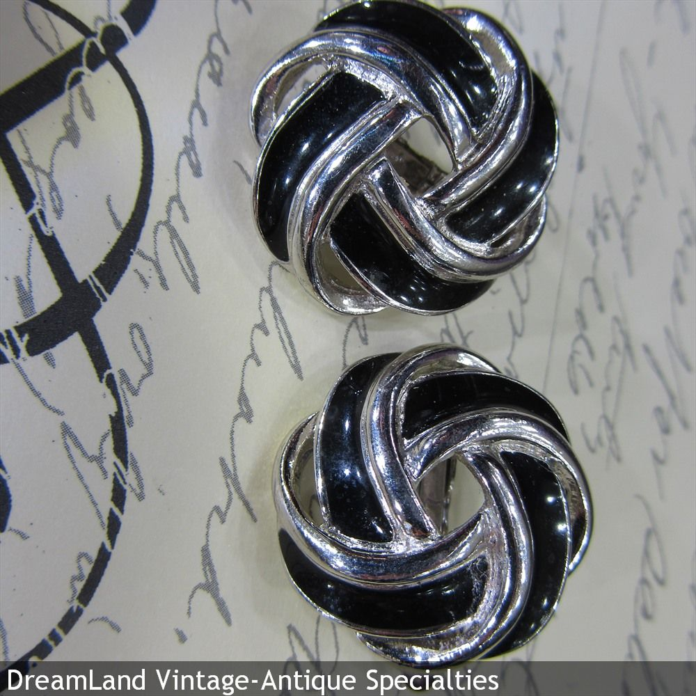 Trifari - white gold toned enamel signed knot earrings   - MAKE $ OFFER DreamLandSpecialties@comcast.net