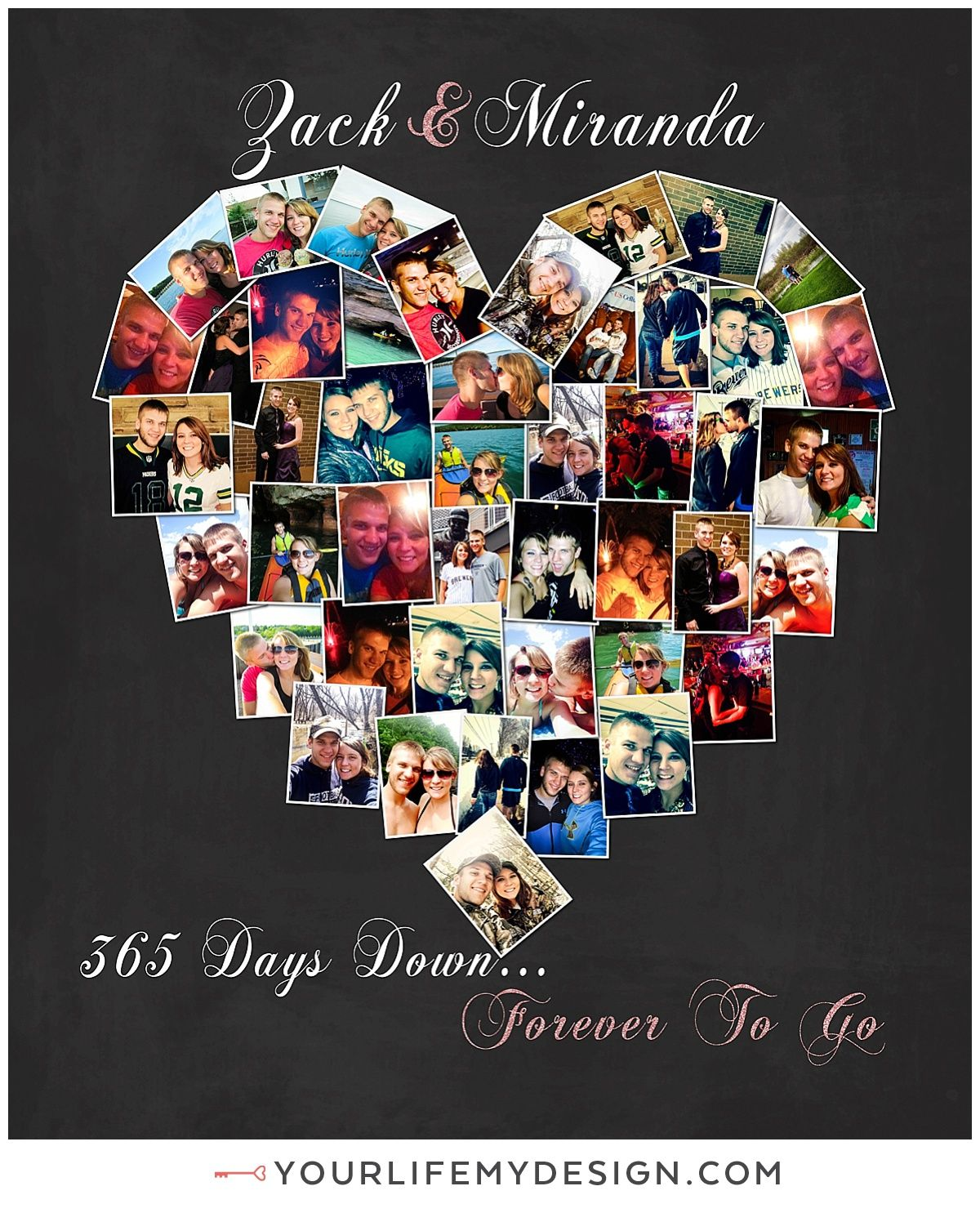 20x24 With 45 Photos Background 7 Font 3 One Year Anniversary GiftsAnniversary PhotosWedding