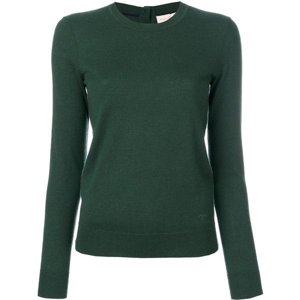 Tory Burch Crewneck Cashmere Sweater With Logo ($360) ❤ liked on ...