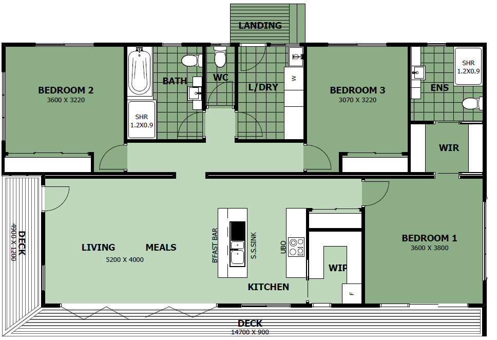 Anchor Homes floor plan - The Tambo 12sq.  Maybe make the current bedroom1 into a living/dining/library room, and have the ensuite accessible from current bedroom3 as new master bedroom.