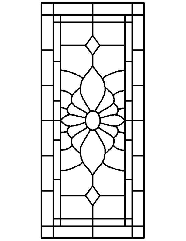 Stained glass patterns for free glass pattern 070 for Window design template
