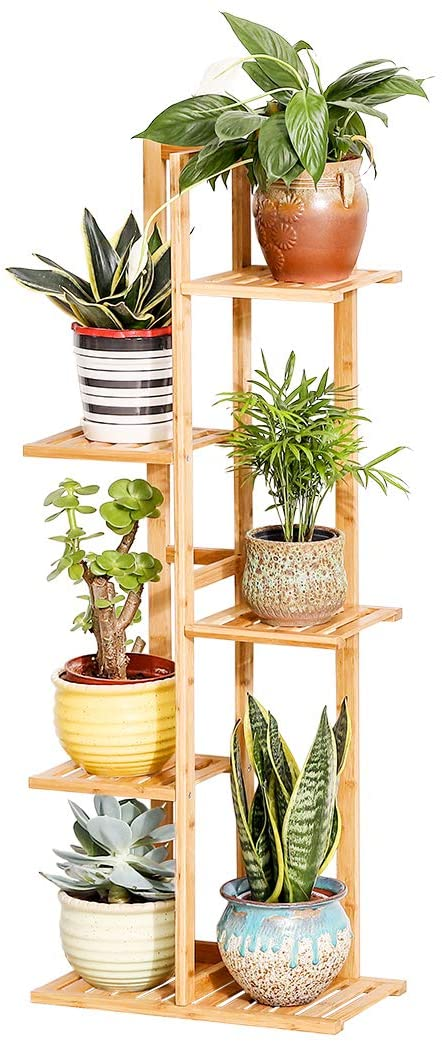 Bamboo 5 Tier 6 Potted Plant Stand Rack, Patio Plant Stands Tiered