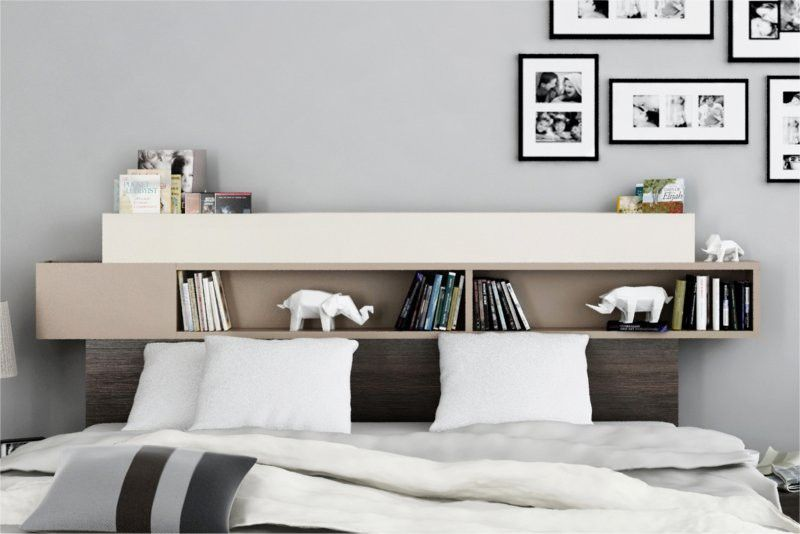 lit avec t te de lit avec rangement 160 x 200 cm la t te de lit poss de des tag res qui. Black Bedroom Furniture Sets. Home Design Ideas