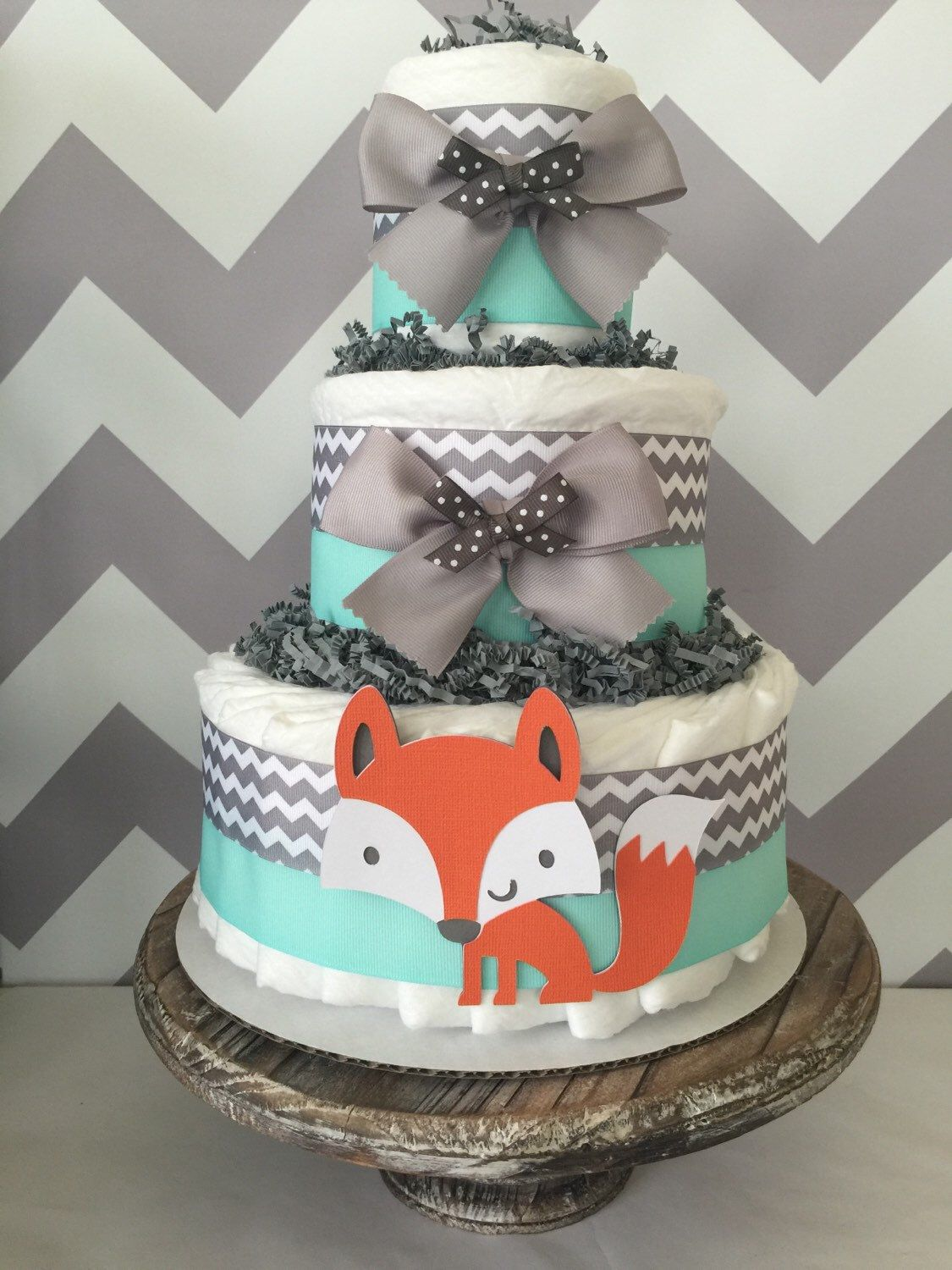 Fox Diaper Cake In Mint Grey And White Woodland Baby