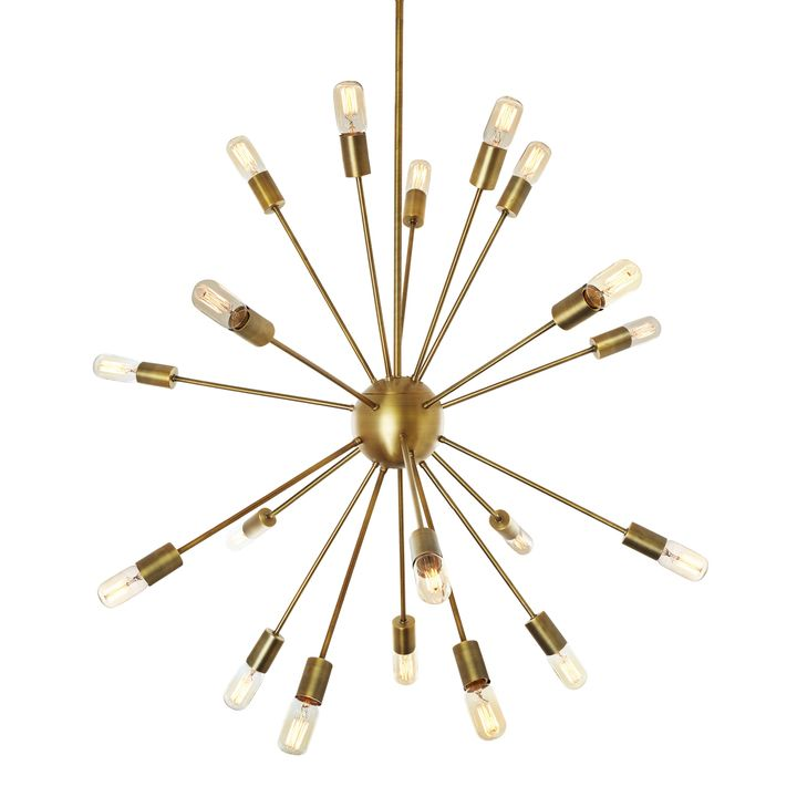 A take on a timeless fixture, our collection of Sputnik pendants pay homage to Gino Sarfatti's classic 1954 satellite design. Remaining a staple for the Mid Century obsessed, it's probe like silhouette adds dimension and texture to any space. The adjustable rod and included sloped ceiling adapter allow for faster and easier height adjustments to accommodate your space.