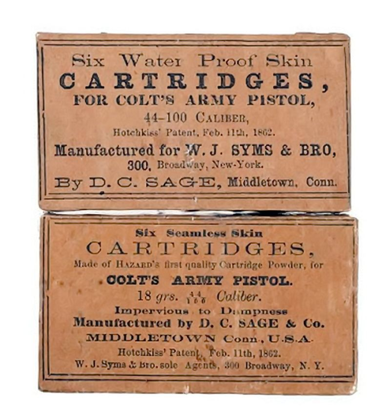 Skin cartridges were used mainly in Colt revolvers and also in the Sharps rifle. They were famously used by Colonel Berdan's sharpshooters during the Civil war.   Skin cartridges made by D.C. Sage. of Middletown, CT USA